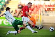 15 August 2010; Tom Cleverley, Manchester United Reserves, in action against Sean Gannon, Shamrock Rovers. Platinum One Challenge, Shamrock Rovers v Manchester United Reserves, Tallaght Stadium, Tallaght, Dublin. Picture credit: David Maher / SPORTSFILE
