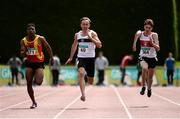 2 July 2016; Sean Lawlor of Donore Harriers, 49, on his way to winning the Junior Men 100m final, ahead of Joseph Ojewumi of Tallaght A.C., 171, and Cillin Greene of Galway City Harriers, 364, during the GloHealth National Junior and U23 Track & Field Championships at Tullamore Harriers Stadium in Tullamore, Offaly. Photo by Sam Barnes/Sportsfile