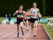 2 July 2016; William Crowe of North Sligo A.C., 402, on his way to winning the Junior Men 1500m ahead of Jack O'Leary of Mullingar Harriers A.C., 422, during the GloHealth National Junior and U23 Track & Field Championships at Tullamore Harriers Stadium in Tullamore, Offaly. Photo by Sam Barnes/Sportsfile
