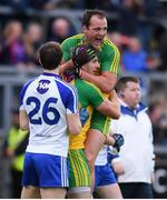 2 July 2016; Michael Murphy, top, and Christy Toye of Donegal celebrate their victory in the Ulster GAA Football Senior Championship Semi-Final Replay between Donegal and Monaghan at Kingspan Breffni Park in Cavan. Photo by Stephen McCarthy/Sportsfile