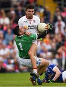 3 July 2016; Tiernan McCann of Tyrone in action against Raymond Galligan of Cavan during the Ulster GAA Football Senior Championship Semi-Final Replay between Tyrone and Cavan at St Tiemach's Park in Clones, Co Monaghan.