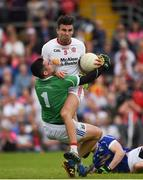 3 July 2016; Tiernan McCann of Tyrone in action against Raymond Galligan of Cavan during the Ulster GAA Football Senior Championship Semi-Final Replay between Tyrone and Cavan at St Tiemach's Park in Clones, Co Monaghan. Photo by Philip Fitzpatrick/Sportsfile