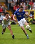 3 July 2016; Gearoid McKiernan of Cavan in action against Tiernan McCann of Tyrone during the Ulster GAA Football Senior Championship Semi-Final Replay between Tyrone and Cavan at St Tiemach's Park in Clones, Co Monaghan. Photo by Philip Fitzpatrick/Sportsfile