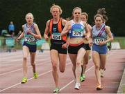 2 July 2016; Emma O'Brien of Sli Cualann A.C., 404, on her way to winning the Junior Womens 1500m, ahead of Abbie Taylor of Dundrum South Dublin A.C., 100, Aisling Joyce, Claremorris A.C., 329 and Sophie Murphy of Dundrum South Dublin, 119, during  the GloHealth National Junior and U23 Track & Field Championships at Tullamore Harriers Stadium in Tullamore, Offaly. Photo by Sam Barnes/Sportsfile