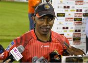 4 July 2016; Dwayne Bravo of Trinbago Knight Riders during the post match interview after Match 7 of the Hero Caribbean Premier League between Trinbago Knight Riders and Jamaica Tallawahs at Queen's Park Oval, in Port of Spain, Trinidad. Photo by Randy Brooks/Sportsfile