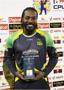 4 July 2016; Chris Gayle of Jamaica Tallawahs with the player of the match prize at the end of Match 7 of the Hero Caribbean Premier League between Trinbago Knight Riders and Jamaica Tallawahs at Queen's Park Oval, in Port of Spain, Trinidad. Photo by Randy Brooks/Sportsfile