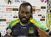 4 July 2016; Chris Gayle of Jamaica Tallawahs during the post match interview after Match 7 of the Hero Caribbean Premier League between Trinbago Knight Riders and Jamaica Tallawahs at Queen's Park Oval, in Port of Spain, Trinidad. Photo by Randy Brooks/Sportsfile