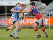 21 August 2010; Anthony Kavanagh, Garryowen, is tackled by Cian Aherne, UL Bohemians. Mens Senior Cup Final, 2010 Meteor Munster Rugby Sevens, Garryowen Rugby Club, Dooradoyle, Limerick. Picture credit: Diarmuid Greene / SPORTSFILE