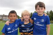 6 July 2016; Carlos Culligan, left, Vincent Houlihan and Luke Meijer, right, all age 7, all from Donnybrook, during the Bank of Ireland Leinster Rugby Camp at Donnybrook Stadium, Donnybrook, Dublin. Photo by Piaras Ó Mídheach/Sportsfile