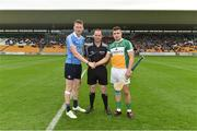 6 July 2016; Referee Alfie Devine with Shane Barrett of Dublin and David O'Toole-Greene of Offaly during the Bord Gáis Energy Leinster GAA Hurling U21 Championship Final match between Offaly and Dublin at O'Connor Park in Tullamore, Co Offaly. Photo by Matt Browne/Sportsfile
