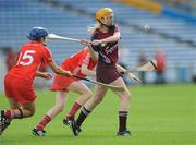 22 August 2010; Sarah Dervan, Galway, in action against Joanne Casey, 15, and Rachel Moloney, Cork. Gala All-Ireland Senior Camogie Championship Semi-Final Replay, Galway v Cork, Semple Stadium, Thurles, Co. Tipperary. Picture credit: Matt Browne / SPORTSFILE
