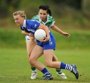 22 August 2010; Hannah Landers, Waterford, in action against Annette Woods, Fermanagh. All-Ireland Ladies Football U16B Shield Final, Waterford v Fermanagh, St Rynagh's, Banagher, Co. Offaly. Picture credit: Oliver McVeigh / SPORTSFILE