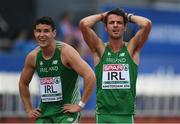 9 July 2016; Thomas Barr, right, and Craig Lynch of Ireland wait to see their team's time after the Men's 4 x 400m Relay qualifying round on day four of the 23rd European Athletics Championships at the Olympic Stadium in Amsterdam, Netherlands. Photo by Brendan Moran/Sportsfile