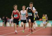 9 July 2016; Jack O'Connor of Dooneen A.C., Co Kerry, 39, on his way to winning the U14 Men 800m, ahead of Ryan Canning of Letterkenny A.C., Co. Donegal, 52 during the GloHealth National Juvenile Relay & B Championships at the Tullamore Harriers Stadium in Tullamore, Offaly. Photo by Sam Barnes/Sportsfile