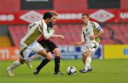 24 August 2010; Mark O' Reilly, Bohemians A, in action against Eamon Zayed, left, and Phillip Hand, Sporting Fingal A. Newstalk Cup Final, Bohemians A v Sporting Fingal A, Dalymount Park, Dublin. Picture credit: Barry Cregg / SPORTSFILE