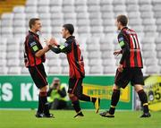 24 August 2010; Gary Burke, Bohemians A, celebrates scoring his side's first goal with team-mates Keith Buckley, left, and Lee Dixon. Newstalk Cup Final, Bohemians A v Sporting Fingal A, Dalymount Park, Dublin. Picture credit: Barry Cregg / SPORTSFILE