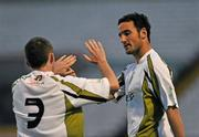 24 August 2010; Eamon Zayed, right, Sporting Fingal A, celebrates with team-mate Phillip Hand after scoring his side's first goal. Newstalk Cup Final, Bohemians A v Sporting Fingal A, Dalymount Park, Dublin. Picture credit: Barry Cregg / SPORTSFILE