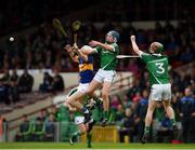 10 July 2016; Lydon Fairbrother of Tipperary in action against Brian Nash, centre, and Conor Nicholas of Limerick during the Electric Ireland Munster GAA Minor Hurling Championship Final match between Limerick and Tipperary at the Gaelic Grounds in Limerick Photo by Ray McManus/Sportsfile