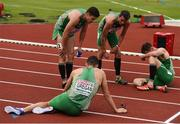 10 July 2016; Ireland athletes, from left, Craig Lynch, Brian Gregan, Thomas Barr and David Gillick of Ireland react after after the Men's 4 x 400m Final on day five of the 23rd European Athletics Championships at the Olympic Stadium in Amsterdam, Netherlands. Photo by Brendan Moran/Sportsfile