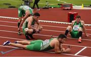10 July 2016; Ireland athletes, from left, Thomas Barr, Craig Lynch, Brian Gregan and David Gillick of Ireland react after after the Men's 4 x 400m Final on day five of the 23rd European Athletics Championships at the Olympic Stadium in Amsterdam, Netherlands. Photo by Brendan Moran/Sportsfile