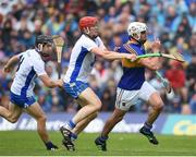 10 July 2016; Patrick Maher of Tipperary in action against Tadhg de Burca and Jamie Barron of Waterford during the Munster GAA Hurling Senior Championship Final match between Tipperary and Waterford at the Gaelic Grounds in Limerick. Photo by Eóin Noonan/Sportsfile