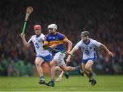10 July 2016; Patrick Maher of Tipperary in action against Tadhg de Burca, left, and Jamie Barron of Waterford during the Munster GAA Hurling Senior Championship Final match between Tipperary and Waterford at the Gaelic Grounds in Limerick.  Photo by Stephen McCarthy/Sportsfile