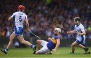 10 July 2016; Patrick Maher of Tipperary in action against Jamie Barron, right, and Tadhg de Burca of Waterford during the Munster GAA Hurling Senior Championship Final match between Tipperary and Waterford at the Gaelic Grounds in Limerick.  Photo by Stephen McCarthy/Sportsfile
