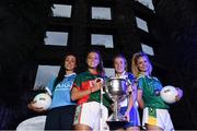 13 July 2016; Ladies Gaelic Football are set to Change the Record. Minister of State for Tourism and Sport, Patrick O'Donovan, T.D. launched the 2016 TG4 All Ireland Championships at Croke Park as the LGFA President, Marie Hickey announced that TG4 and the LGFA were joining forces to attempt to set a new attendance record for the TG4 All Ireland Championships. The previous record of 33,000 was set in 2001 when Laois played Mayo. The LGFA President also urged supporters of the game to start looking inwards to support the game rather than criticising a lack of media coverage. Pictured at the launch are, from left, Niamh McEvoy, Dublin, Sarah Rowe, Mayo, Ciara McAnespie, Monaghan and Ciara Murphy, Kerry. Photo by Brendan Moran/Sportsfile