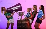 13 July 2016; Ladies Gaelic Football are set to Change the Record. Minister of State for Tourism and Sport, Patrick O'Donovan, T.D. launched the 2016 TG4 All Ireland Championships at Croke Park as the LGFA President, Marie Hickey announced that TG4 and the LGFA were joining forces to attempt to set a new attendance record for the TG4 All Ireland Championships. The previous record of 33,000 was set in 2001 when Laois played Mayo. The LGFA President also urged supporters of the game to start looking inwards to support the game rather than criticising a lack of media coverage. Pictured at the launch are, from left, Ciara Murphy, Kerry, Ciara McAnespie, Monaghan, Sarah Rowe, Mayo and Niamh McEvoy, Dublin. Photo by Brendan Moran/Sportsfile