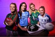 13 July 2016; Ladies Gaelic Football are set to Change the Record. Minister of State for Tourism and Sport, Patrick O'Donovan, T.D. launched the 2016 TG4 All Ireland Championships at Croke Park as the LGFA President, Marie Hickey announced that TG4 and the LGFA were joining forces to attempt to set a new attendance record for the TG4 All Ireland Championships. The previous record of 33,000 was set in 2001 when Laois played Mayo. The LGFA President also urged supporters of the game to start looking inwards to support the game rather than criticising a lack of media coverage. Pictured at the launch are, from left, Sarah Rowe, Mayo, Niamh McEvoy, Dublin, Ciara Murphy, Kerry and Ciara McAnespie, Monaghan. Photo by Brendan Moran/Sportsfile