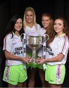 13 July 2016; Ladies Gaelic Football are set to Change the Record. Minister of State for Tourism and Sport, Patrick O'Donovan, T.D. launched the 2016 TG4 All Ireland Championships at Croke Park as the LGFA President, Marie Hickey announced that TG4 and the LGFA were joining forces to attempt to set a new attendance record for the TG4 All Ireland Championships. The previous record of 33,000 was set in 2001 when Laois played Mayo. The LGFA President also urged supporters of the game to start looking inwards to support the game rather than criticising a lack of media coverage. Pictured at the launch are, from left, Lyndsey Davey, Dublin, Brid Stack, Cork, Sarah Rowe, Mayo and Laura McEnaney, Monaghan. Photo by Brendan Moran/Sportsfile