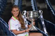 13 July 2016; Ladies Gaelic Football are set to Change the Record. Minister of State for Tourism and Sport, Patrick O'Donovan, T.D. launched the 2016 TG4 All Ireland Championships at Croke Park as the LGFA President, Marie Hickey announced that TG4 and the LGFA were joining forces to attempt to set a new attendance record for the TG4 All Ireland Championships. The previous record of 33,000 was set in 2001 when Laois played Mayo. The LGFA President also urged supporters of the game to start looking inwards to support the game rather than criticising a lack of media coverage. Pictured at the launch is Sarah Rowe of Mayo. Photo by Brendan Moran/Sportsfile