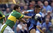 4  August 2001; Jason Sherlock, Dublin, in action against Eamon Fitzmaurice, Kerry. Kerry v Dublin, Bank of Ireland All-Ireland Football Championship Quarter Final, Semple Stadium, Thurles, Co.  Tipperary. Picture credit; Damien Eagers / SPORTSFILE *EDI*