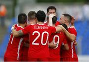 14 July 2016; Christy Fagan, 9, of St Patrick's Athletic celebrates with team-mates, including, Ger O'Brien, Mark Timlin, and Billy Dennehy, after scoring his side's first goal against Dinamo Minsk during the UEFA Champions League Second Qualifying Round 1st Leg match  between Dinamo Minsk and St Patrick's Athletic at Traktor Stadium in Minsk, Belarus. Photo by Sportsfile