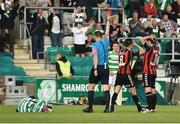 15 July 2016; Referee Paul McLaughlin shows a red card to Keith Buckley, 8, of Bohemian FC during the SSE Airtricity League Premier Division match between Shamrock Rovers and Bohemian FC at Tallaght Stadium in Tallaght, Co Dublin. Photo by David Maher/Sportsfile