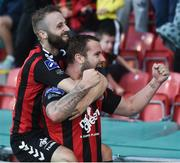 15 July 2016; Kurtis Byrne, right, of Bohemian FC celebrates after scoring his side's first goal with team-mate Dylan Hayes during the SSE Airtricity League Premier Division match between Shamrock Rovers and Bohemian FC at Tallaght Stadium in Tallaght, Co Dublin. Photo by David Maher/Sportsfile