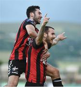 15 July 2016; Kurtis Byrne, right, of Bohemian FC celebrates after scoring his side's first goal with team-mate Roberto Lopes during the SSE Airtricity League Premier Division match between Shamrock Rovers and Bohemian FC at Tallaght Stadium in Tallaght, Co Dublin. Photo by David Maher/Sportsfile