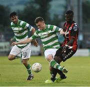 15 July 2016; Ismahil Akinade of Bohemian FC in action against Sean Heaney of Shamrock Rovers during the SSE Airtricity League Premier Division match between Shamrock Rovers and Bohemian FC at Tallaght Stadium in Tallaght, Co Dublin. Photo by David Maher/Sportsfile