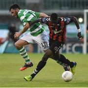 15 July 2016; Ismahil Akinade of Bohemian FC in action against Killian Brennan of Shamrock Rovers during the SSE Airtricity League Premier Division match between Shamrock Rovers and Bohemian FC at Tallaght Stadium in Tallaght, Co Dublin. Photo by David Maher/Sportsfile