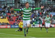 15 July 2016; Gary Shaw of Shamrock Rovers celebrates after scoring his side's goal during the SSE Airtricity League Premier Division match between Shamrock Rovers and Bohemian FC at Tallaght Stadium in Tallaght, Co Dublin. Photo by Eóin Noonan/Sportsfile