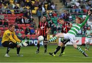 15 July 2016; Gary Shaw of Shamrock Rovers shoots past Bohemian FC goalkeeper Dean Delaney to score his side's goal during the SSE Airtricity League Premier Division match between Shamrock Rovers and Bohemian FC at Tallaght Stadium in Tallaght, Co Dublin. Photo by Eóin Noonan/Sportsfile