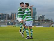 15 July 2016; Dean Clarke of Shamrock Rovers celebrates with team-mate Brandon Miele after scoring his side's goal during the SSE Airtricity League Premier Division match between Shamrock Rovers and Bohemian FC at Tallaght Stadium in Tallaght, Co Dublin. Photo by Eóin Noonan/Sportsfile