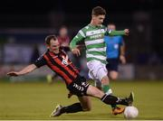 15 July 2016; Trevor Clarke of Shamrock Rovers in action against Derek Pender of Bohemian FC during the SSE Airtricity League Premier Division match between Shamrock Rovers and Bohemian FC at Tallaght Stadium in Tallaght, Co Dublin. Photo by Eóin Noonan/Sportsfile