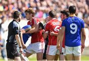16 July 2016; Players from both side's tussle which resulted in a red card for James Loughrey, 6, of Cork  and Darren Gallagher, 9, of Longford during the GAA Football All-Ireland Senior Championship Round 3B match between Longford and Cork at Glennon Brothers Pearse Park in Longford. Photo by Ramsey Cardy/Sportsfile