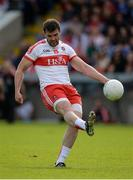 16 July 2016; Mark Lynch of Derry scores a point from a free kick during the GAA Football All-Ireland Senior Championship Round 3A match between Cavan and Derry at Kingspan Breffni Park in Cavan. Photo by Brendan Moran/Sportsfile