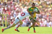 17 July 2016; Karl Lacey of Donegal is tackled by Cathal McShane of Tyrone during the Ulster GAA Football Senior Championship Final match between Donegal and Tyrone at St Tiernach's Park in Clones, Co Monaghan. Photo by Ramsey Cardy/Sportsfile