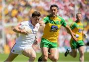 17 July 2016; Ronan O'Neill of Tyrone  in action against Rory Kavanagh of Donegal during the Ulster GAA Football Senior Championship Final match between Donegal and Tyrone at St Tiernach's Park in Clones, Co Monaghan. Photo by Oliver McVeigh/Sportsfile