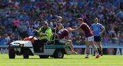 17 July 2016; Ray Connellan is consoled by Ger Egan of Westmeath as he leaves the field injured during the Leinster GAA Football Senior Championship Final match between Dublin and Westmeath at Croke Park in Dubin. Photo by Ray McManus/Sportsfile