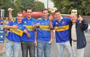 5 September 2010; Tpperary supporters, from left, Matty Grogan, Mark Quirke, David Quirke, David O' Malley and Paddy Gleeson, from Tipperary Town, Co. Tipperary, show their support for their team before the match. GAA Hurling All-Ireland Senior Championship Final, Kilkenny v Tipperary, Croke Park, Dublin. Picture credit: Barry Cregg / SPORTSFILE