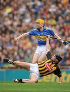 5 September 2010; Lar Corbett, Tipperary, wins possession ahead of Noel Hickey, Kilkenny, on his way to scoring the first goal of the game. GAA Hurling All-Ireland Senior Championship Final, Kilkenny v Tipperary, Croke Park, Dublin. Picture credit: Ray McManus / SPORTSFILE